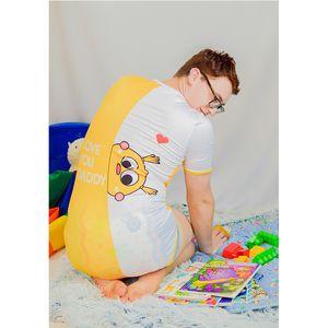 ABDL взрослый ребенок Babyie Babyie Pajamas открыть оснастку промежность взрослый размер onsie jumbsuit ddlg ребёнок взрослый onseie полнец хлопок 1022