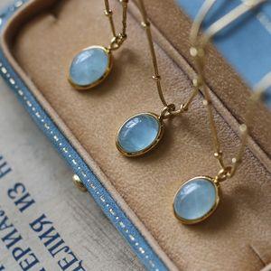 Amaiyllis Gold Natural Stone Clavicle Chain Necklace Blue Ellipse Aquamarine Necklace Pendants For Female Jewelry Gift LJ201009
