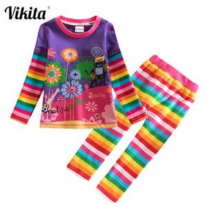 VIKITA Crianças Roupa Define criança Meninas Roupas Traje Outfit Suit Crianças camiseta Calças Roupa para meninas Roupa Define 201027
