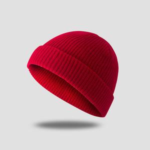 Вязаная шапка унисекс ретро шляпы Skullcap осень зима теплые мужчины короткие шерстяные шапки женщины простые шапочки купол морской доставку lla265
