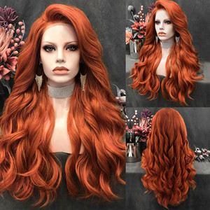 Charisma Long Wavy Wig Orange Red Color Side Part Synthetic Lace Front Wig Silver Grey Wigs for Women Cosplay Wig