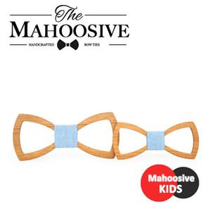 Handkerchiefs Mahoosive Father Kids Children Bow Tie Necktie Wood Gravatas Corbatas Butterfly Cravat Wooden Mens Ties Combo