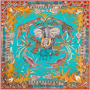 Seda Pescoço Scarf Wrap Mulheres Elefante Girafa Poncho Foulard Femme Ladies Joker Grande Silk Scarfs Acessório Versátil 130cm