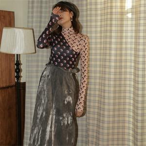 CBAFU Designer Ay Baskı Kadın Gömlek Patchwork Balıkçı Yaka Uzun Kollu Bayan Bluzlar Pist İç Giysileri P847 Tops