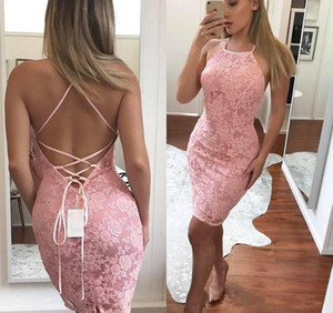 Cheap Pink Sheath Mini Prom Dresses Hater Neck Lace Criss Cross Backless Short Wear Cocktail Party Gowns Plus Size