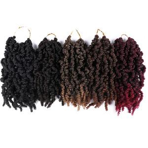 Shanghair Pre-twisted 봄 트위스트 헤어 10 인치 15strands / PCS 열정 트위스트 크로 셰 뜨개질 머리 블랙 브라운 부르고뉴 Ombre Braiding Hair 70g / PC