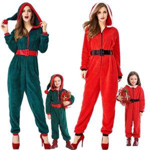 navidad Pajam familiares adultos de Navidad con capucha para niños del mono de terciopelo de las mujeres pijamas de Navidad traje de navidad Fantasia ropa del partido de Cosplay