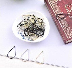 1 set = 10 pezzi di plastica forma di goccia di forma clip in oro argento oro colore divertente kawaii bookmark office shool cancelleria marcatura clip hwf2828