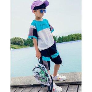 Genç Erkek Giyim Seti Yaz Tops Kısa Kollu Çocuk Çocuklar Patchwork Suit Kore Genç Set 4 5 6 7 8 9 10 11 12 13 14 Yıl Y200525