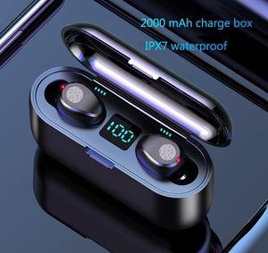 Wireless Earphone Bluetooth V5.0 F9 TWS Wireless Bluetooth Headphone LED Display With 2000mAh Power Bank Headset With Microphone