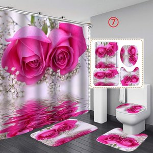 4 Pcs Bathroom Sets Shower Curtain Set Curtain Mat Set Toilet Cover 180X180CM Shower Curtain Toilet Seat Covers for Valentine