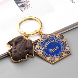 Wholesale 10 pcs lot Movie Potter Frogs Chocolate Keychain Platform Pendant Key Chains for Women Men Cosplay Jeweley Gift 201021