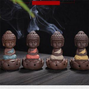 السيراميك مبخرة بانسي الراهب الجلوس في التأمل العطر لطيف ليتل مصابيح الراهب البوذي لوتس الحلي الفنون والحرف مبخرة 9ys K2