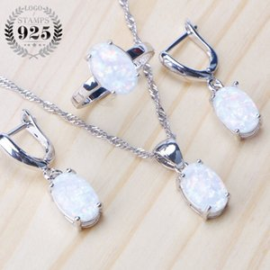 for Silver Opal Stone Wedding Bridal Sets Earrings 925 Sterling Women Costume Jewelry Pendant Necklace Ring Set Gift Box