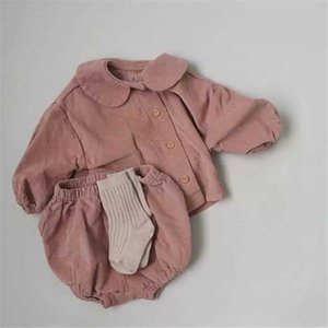 DB Newest Ins Toddler Baby Boys GIRSL Corduroy Algodón Manga larga Tees + Shorts Sets Sport Kids Girls Ropa Trajes