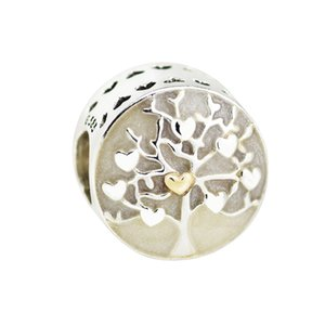 2017 Mother's Day Silver Beads DIY Fit Pandora bracelets Authentic 925 Sterling-Silver-Jewelry Charms Tree of Hearts Silver Enamel real gold