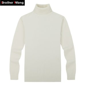 Brother Wang Marque Hommes Pulls occasionnels Sweater Classic Style Fashion Slim Business Business Turtleneck Pull Mâle Blanc Blanc 201017