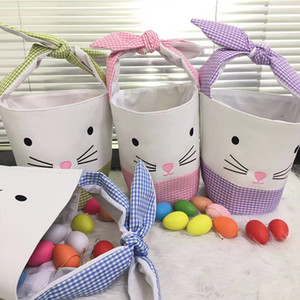 4 Styles New Easter Cartoon Bunny Bucket Children Toy Gifts Tote Bag Carrying Gift Eggs Hunting Basket Happy Easter Party Decoration