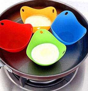 Silicone Egg Poacher Cup Tray Egg Mold Bowl Rings Cooker Boiler Kitchen Cooking Tools 4 COLORS KKA8121