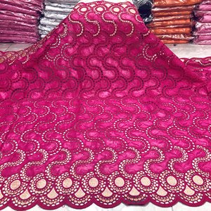 Latest african lace fabric african bazin riche fabric cotton bazin brode 2.5yards embroidery swiss lace fabric for wedding 14L01