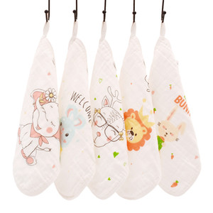 Happyflute 100% Cotton Square Face Towel 5piece set Muslin Baby Stuff for Newborns Gauze Baby Wipes Wash Cloths