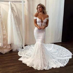 С плечами кружева русалка свадебные платья с аппликациями суд поезду Бедные Boho Beach Bridal Plass