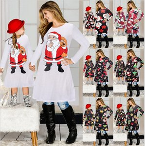 Christmas Theme Clothing Mom Mother Daughter Girls Matching Dress Santa Claus Elk Snowman Print Skirt Parent-child Dress Outfits E101901