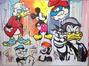 Cartoon Oworks Decorazione Domestica Handpainted Stampa HD Stampa pittura a olio su tela Wall Art Quadri su tela 201229