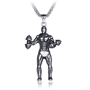 Punk Style Stainless Steel Muscular Man with Fitness Dumbbells Pendant Necklace BXG021 Trendy Charm Dangle Chain Jewelry Hip Hop Accessory