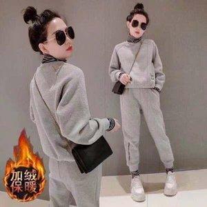 Tileewon Mesdames Set Couleur Solid Ajoutez la laine Turtleneck Hauts avec pantalon en pleine longueur Deux pièces pour les étudiants Sports