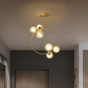 Glass Ball Bubbles pendant lights for Living room dinning room Kitchen Bedroom Golden Lamps hanging light for 100-240V