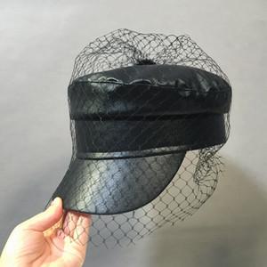 XCYB İlkbahar ve yaz New siyah PU dantel peçe newsboy kapaklar Fmale moda şapkalar 201013