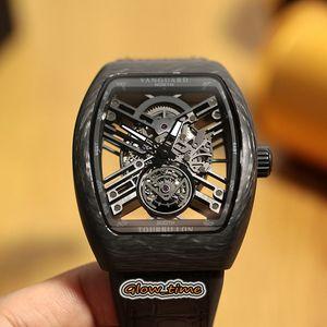 Top version NEW SARATOGE V 45 T SQT Skeleton Dial Japon CARBONE Miyota automatique Sapphire Mens en fibre de carbone HOUSSE Montres Bracelet