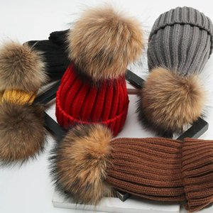 Womens Girls Ladies Winter Knitted Beanie Ski Ball Hat Detachable Outdoor Faux Fur Bobble Thick Pom-poms