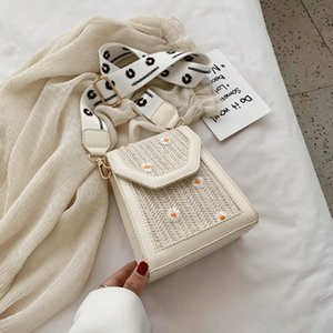 Straw Mobile Fashion Small Coin Purse Woven Summer New Female Messenger Broadband Shoulder Bag