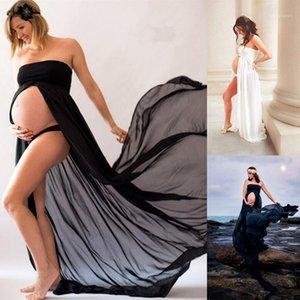Kadınlar Gebelik Elbise Dantel Uzun Straplez Maxi Elbise Siyah Beyaz Annelik Elbiseleri Fotoğraf Çekimi Fotoğraflar Için Props1