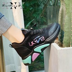 Kadınlar Flats Vulkanize Ayakkabı Yaz Aksak Sneaker 2020 İlkbahar Sonbahar Örme Nefes Ayakkabı Chunky Platformu Sneakers Kadınlar