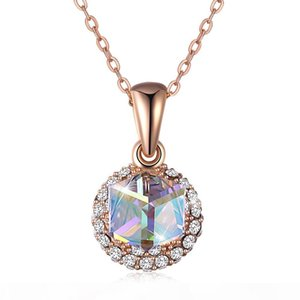 Elegant Lovely Necklace From Swarovski Elements Crystal S925 Sterling Silver Cube Candy Double Hanging Pendant Necklace Women Gift POTALA290