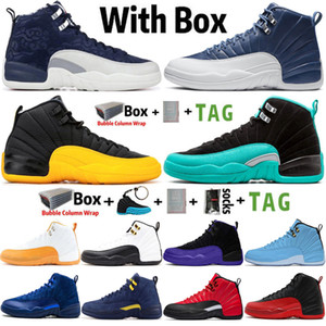 2020 Kutu Jumpman Yüksek OG 12 12s Erkek Basketbol Ayakkabı Uluslararası Uçuş Bilgileri Taş Mavi UNC CNY Playoff Eğitmenler Spor Spor ayakkabılar Boyutu 7-13 ile