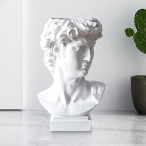 Modern Nordic Stil Yaratıcı Portre Vazo Dekorasyon Süsler David Soyunma Masa Saklama Kova Ev Dekorasyon Aksesuarları C0125