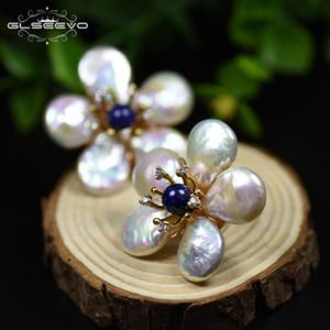 GLSEEVO natural de agua dulce perla barroca lapislázuli Flor de plata de ley 925 del perno prisionero para las mujeres joyería fina LJ201014