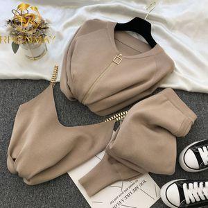 Frauen Reißverschluss Gestrickte Strickjacken Pullover + Hosen Sets + Weste Frau Mode-Jumper-Hose 2 Stück Kostüme Outfit 201007