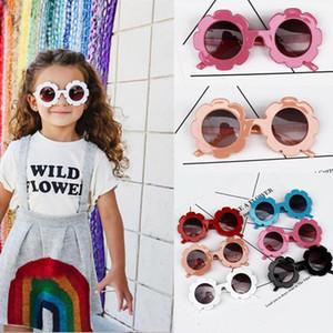 Livre DHL Cute 6 Cores Novos Ins Crianças Bebê Sunflower Sunglasses Meninas Meninos Crianças Sol Óculos Sólidos Óculos De Sol Sunblocks