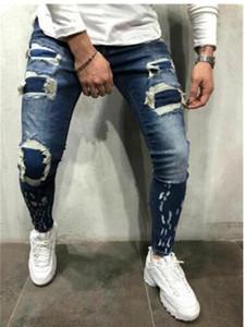 Homme pur Jeans de couleur Pantalons longs Crayon Ripped Jeans Slim printemps trou mince Mode Hommes Skinny hommes Pantalons Hip-hop