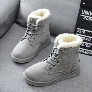 Women Boots 2019 Winter Snow Boots Female Duantong Warm Lace Flat with Women Shoes Tide Botas Mujer F031 Hot Sale 35-40 #pF5M
