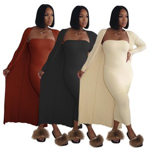 2020 Fashion women's dress tight-fitting single-collar tube top high stretch charming sexy two-piece women's wear oversized coat bra dress
