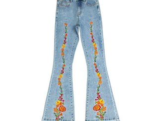 Women Blue Mid Waist Flare Bell Bottoms Ladies Sexy Stretching Jeans Fashion Wide Leg Denim Trousers Flowers Embroidery55