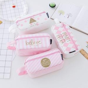 1 قطعة الشبكة قماش الوردي القضية kawaii سعة كبيرة تخزين حقيبة درس اللوازم المدرسية القرطاسية للبنات الطلاب هدايا 1