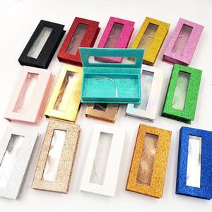 Glitter False Eyelash Case 3d Mink Eyelashes Boxes Faux Cils Lash Stripe Empty Box Magnetic False Eyelash Box with Tray EWD4146