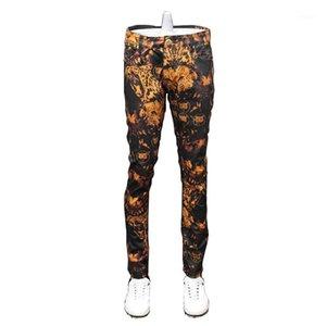 FavOCent 2020 Nuovo autunno uomo stampato Pantaloni a matita in difficoltà Strada Moda comodo Bicicletta Skinny Biker Zipper StretchpencilJeans1